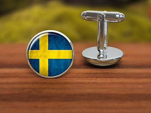Jewelry tycoon®Sweden flag cufflinks, flag cufflinks, Sweden cufflinks, cuff links for events, national symbolic, patriotic gift for men and women (Sweden Cufflinks)