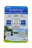 """Sanyo Eneloop Ni-MH Charger (with 8 """"AA"""" and 2 """"AAA"""" Batteries, Plus 2 """"C"""" and 2 """"D"""" Adpaters)"""