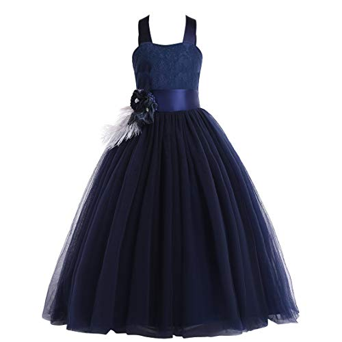 Glamulice Lace Flower Girl Dress Crossed Back Bow Feather Sash Fancy Princess Dresses Party Pageant Gown Age 3-16Y (3-4Y, Navy Blue) -