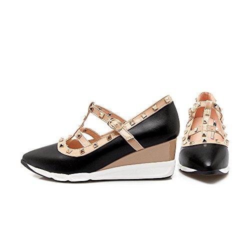 de Talón Zapatos Negro el Boca Mujer Toe Señaló Superficial amp;X Qin La Cuña qwXYYC
