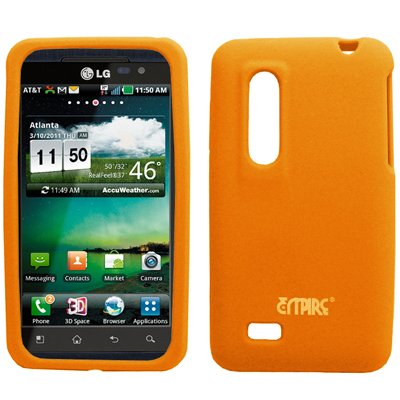 EMPIRE Orange Silicone Skin Case Étui Coque Cover Couverture + Voiture Chargeur (CLA) for AT&T LG Thrill 4G P925