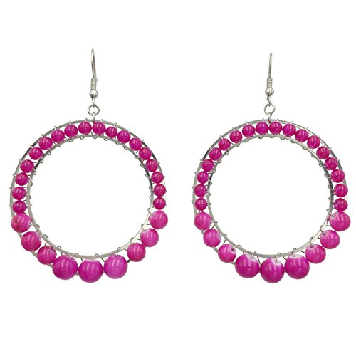 Bead Wrapped Round Circles Bright Dangle Earrings (Dark Pink) Black / Aurora Pink