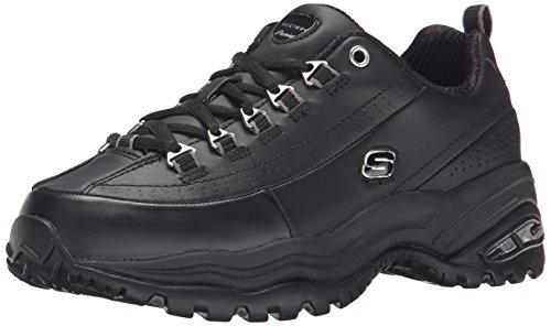 Skechers Sport Women's Premium Sneaker, Black, 9.5 M (Best Skechers For Walking On Concrete)