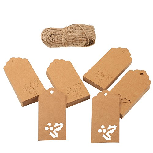 100 Pack Brown Kraft Tags Paper Gift Tags Holly Berries Design Hanging Tags for Christmas Gift Wrapping Craft - Berry Designs Holly