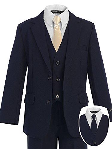 Bello Giovane Boys Navy Formal Dress Slim Suit set with Satin Neck Tie (5, Champagne) - Satin Suit