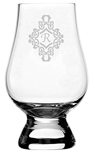 Decorated Etched Monogram Glencairn Crystal Whisky Glass (Letter R) ()