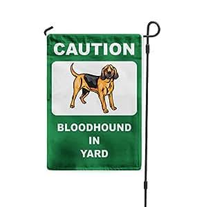Precaución perro de San Huberto perro en patio Patio Patio Casa Banner bandera de Jardín W/hierro juego