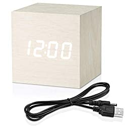 Topacom Wooden Digital Alarm Clock Cube Little Clock, LED Table Clock USB Powered for Heavy Sleepers, Kids, Bedrooms with Adjustable Brightness Voice Control, White