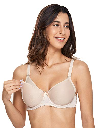 Gratlin Women's Padded Underwire Full Sling Support Maternity Nursing Bra Beige ()