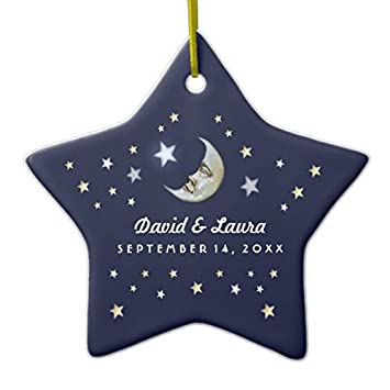 star sharp christmas ornaments navy blue gold white moon stars wedding custom ceramic ornament