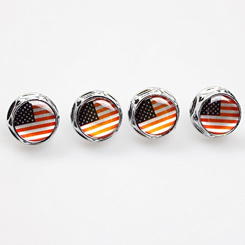 Racing Flags License Plate - Racing Sports US USA American Flag Car Emblem License Plate Frame Screw Bolt Fastener Bolts Fit For Honda Toyota Nissan Ford