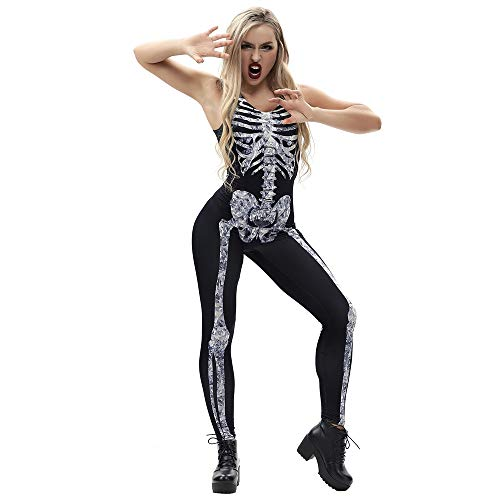 YOcheerful Women Halloween Jumpsuit Racerback Playsuit Costumes Rompers Jumpsuit (A-Gray,S) -