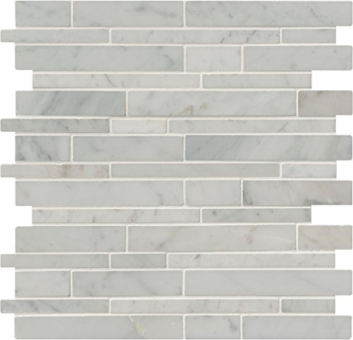 M S International Carrara White Rsp Interlocking 12 In. X 10 mm Polished Marble Mesh-Mounted Mosaic Tile, (10 sq. ft., 10 pieces per case) by MS International