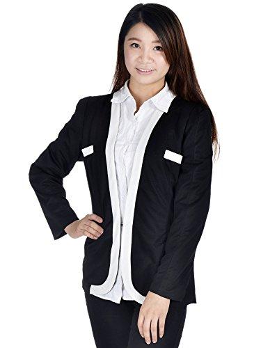 Simplicity Ladies Slim Women's Suit Coat Blazer Jacket Hook Button, Black, L -