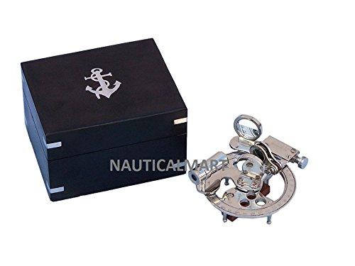 NAUTICALMARTクロームラウンド六分儀withブラックローズウッドボックス4