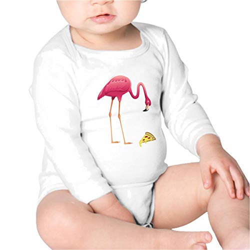 Price comparison product image PBRTEQR Pink Flamingo Eating Pizza Baby Bodysuit Newborn Long Sleeve Baby Clothes