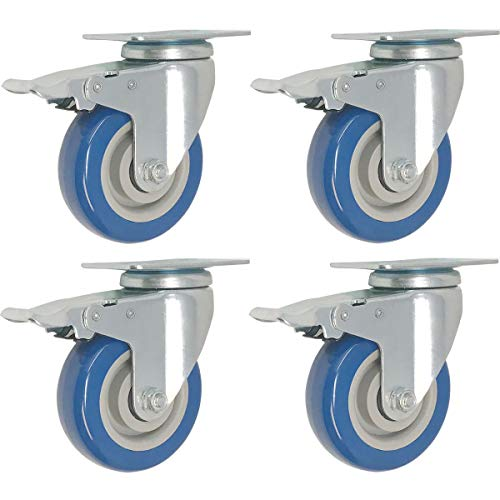 - 4 Pack Caster Wheels Swivel Plate w/Brake Casters On Blue Polyurethane Wheels (5 inch with Brake)