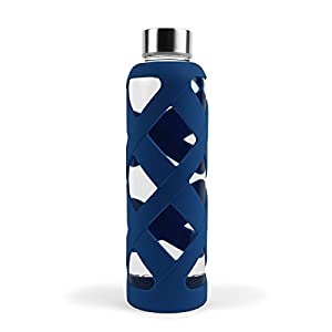 Aquasana Premium Borosilicate Glass Bottle with Designer Silicone Sleeve and BPA Free Lid with Stainless Steel Cover, 550ml, Navy
