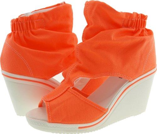 Maxstar Wrinkledd Canvas Side Open Toe Wedge Heel Ankle Sandals Orange lgC0LHsD5