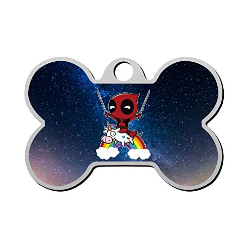 Kafne Deadpool Chibi Premium Custom Stainless Steel Pet Id Tags, Personalized Dog Tags & Cat Tags. Up to 4 Lines of Text Custom Print- Bone Shape