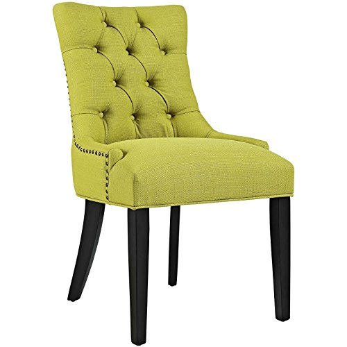 Modway Regent Modern Elegant Button-Tufted Upholstered Fabric Dining Side Chair With Nailhead Trim in Wheatgrass