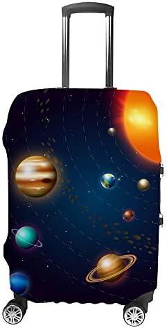 スーツケースカバー トラベルケース 荷物カバー 弾性素材 傷を防ぐ ほこりや汚れを防ぐ 個性 出張 男性と女性太陽と惑星