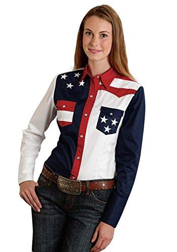 Roper Women's Plus Size Pieced Stars and Stripes Patriotic Blue 3X ()