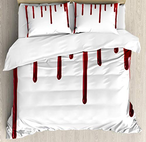 Ambesonne Horror Duvet Cover Set King Size, Flowing Blood Horror Spooky Halloween Zombie Scary Help Me Phrase Themed Illustration, Decorative 3 Piece Bedding Set 2 Pillow Shams, Red White