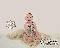Hypoallergenic & Washable Blondie Cream Faux FUR Basket Stuffer, Newborn Photo Props, Baby Props - Newborn Prop, Photography Props, Like Flokati Wool, Baby Props, Long Fur
