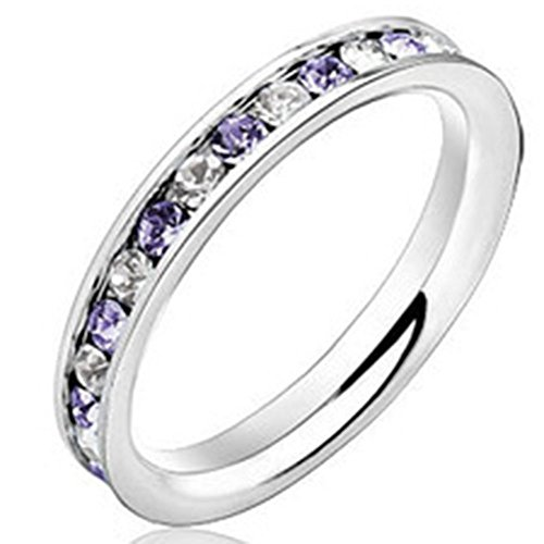 Fashion Month Women 3mm Stainless Steel Channel Set White Purple 2 Color CZ Inlay Ring Engagement Wedding Silver Band