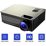 HD 1080P Supported Home Theater Projector, PONER SAUND M5 3500 Lumens Full HD Home Projector 200 LCD Video Projector Built-in Speakers Support Ipad, Fire TV Stick, PS4, HDMI, VGA, TF, USB
