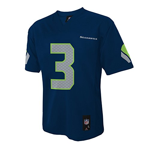 NFL Seattle Seahawks Russell Wilson Boys 4-7 Mid-Tier Jersey, Dk Navy, Medium (5/6)