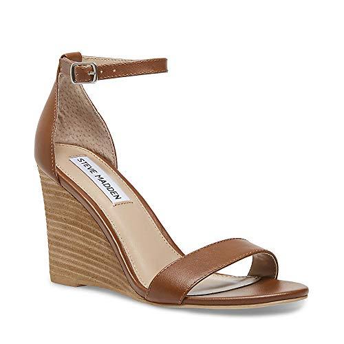 (Steve Madden Women's Mary Cognac Leather Sandal 8 US)