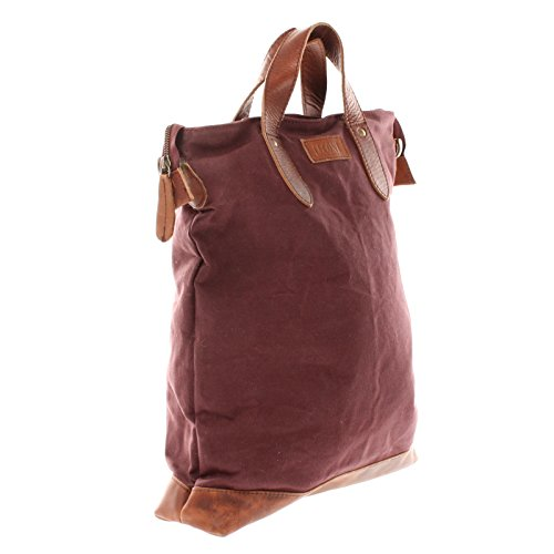39x45x10cm Shopper marron Look femme Sac Leconi Vintage Sac pour Leather LE0037 C main A4 à à Canvas bandoulière Pocket bordeaux Sac sac grand Grand HFwqfp