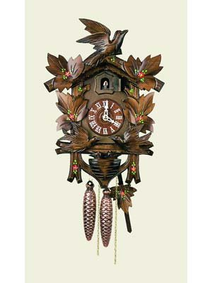Original One Day Movement Cuckoo Clock with Hand Painted Flowers and Moving Birds 14 Inch