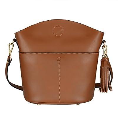 S-ZONE Women's Small Cowhide Genuine Leather Purse Handbag Tassel Crossbody Shoulder Bag Upgraded Version