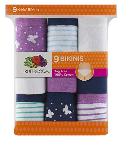 Bikini Girls Briefs (Fruit of the Loom 9-Pack Girls Assorted Bikinis 9G20504 (8 (Waist 23