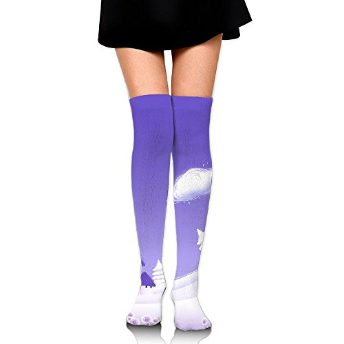 Snow Views Over The Knee Long Socks Tube Thigh-High Sock Stockings For Girls & Womens -