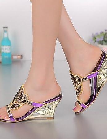 ShangYi Women's Shoes Heel Flip Flops Sandals / Heels Outdoor / Dress / Casual Blue / Purple / Gold , golden-us6 / eu36 / uk4 / cn36 , golden-us6 / eu36 / uk4 / cn36