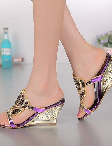 ShangYi Womens Shoes Leather Chunky Heel Heels Sandals Party & Evening / Dress / Casual Purple / Gold golden