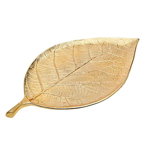 Gold Leaf Decorative Serving Tray for Appetizers, Desserts, Hors D'vour Dish - Medium (Godinger Serving Platter)