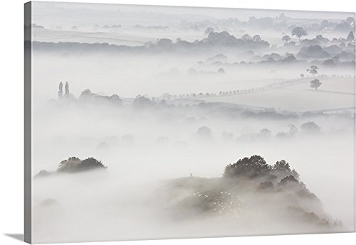 Canvas on Demand Premium Thick-Wrap Canvas Wall Art Print entitled Wearyall Hill from Glastonbury Tor, Somerset, UK 36''x24'' by Canvas on Demand