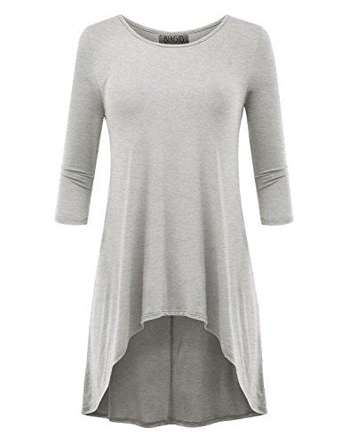 BIADANI Women Hi-Low 3/4 Sleeve Tunic Top Heather Grey (3/4 Sleeve Silk Tunic)