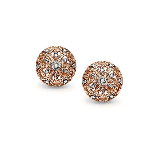 Diamond Filigree Earrings - Rose Gold Flashed Sterling Silver Round Filigree Diamond Accent Stud Earrings, IJ-I3