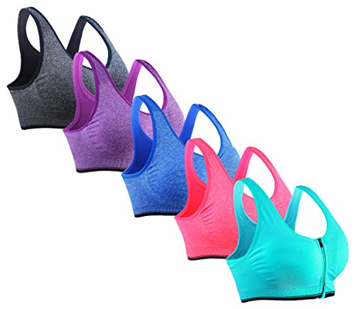 Womens Racerback Wirefree Sports Bra Large 5 Pack Grey/Royal Blue/Sky Blue/Rose Red/Purple (Best Inexpensive Push Up Bra)