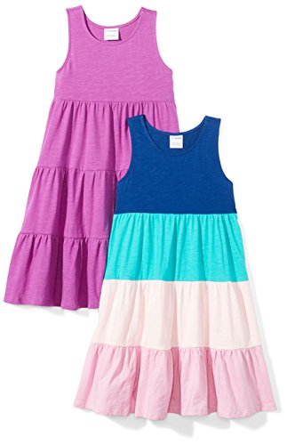 Amazon Brand - Spotted Zebra Girls' Big Kid 2-Pack Knit Sleeveless Tiered Dresses, Purple/Blue, Medium (8) -