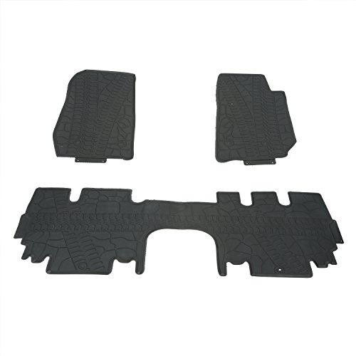 Hooke Road Jeep Wrangler Floor Mat, Black Rubber Slush All-Weather Front & Rear Liner Carpets for 2011-2018 Wrangler JK 4-Door (3-Piece)