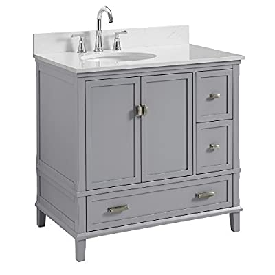 """Dorel Living Otum 36"""" Bathroom Vanity, Gray - Traditional designed 36"""" bathroom Vanity Perfect for your master bathroom, guest bathroom or powder room Crafted with solid wood, engineered wood and fine wood veneer - bathroom-vanities, bathroom-fixtures-hardware, bathroom - 41Indjp IXL. SS400  -"""