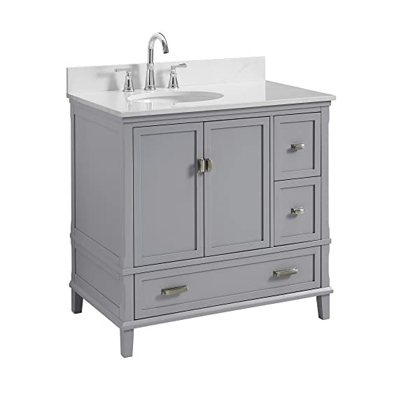 """Dorel Living Otum 36"""" Bathroom Vanity, Gray - Traditional designed 36"""" bathroom Vanity Perfect for your master bathroom, guest bathroom or powder room Crafted with solid wood, engineered wood and fine wood veneer - bathroom-vanities, bathroom-fixtures-hardware, bathroom - 41Indjp IXL. SS570  -"""
