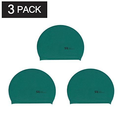 Latex Swim Cap - Swim Research Durable Solid Latex Swim Cap (Green-3PK)